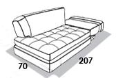размеры спального места кушетки 8 Марта Палермо-К